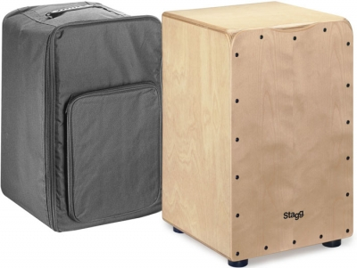 CAJON STAGG CON 2 PARES DE CUERDAS AJUSTABLES-INCLUYE FUNDA Y LLAVE DE AFINAR-TAPA COLOR NATURAL