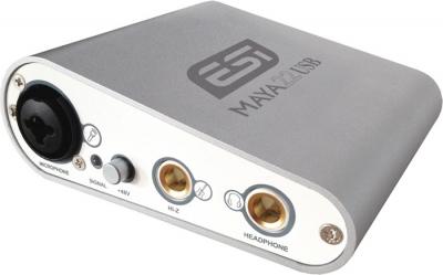 PLACA DE AUDIO ESI 2 INPUT/2 OUTPUT-USB 2.0 24bit/96khz-48V PHANTOM-USB-INPUTS MIC-GUITARRA-LINEA