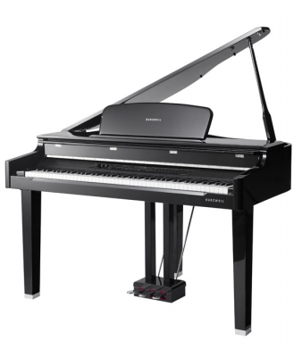 MPG200 GRAND PIANO DIGITAL KURZWEIL 88 NOTAS TECLAS DE MADERA-500 SONIDOS-BANQUETA INCLUIDA-COLOR NEGRO